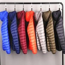 Quanbo фирменные осень-зима легкая зимняя куртка-пуховик Мужская Мода Короткая куртка с капюшоном большого размера на ультра-тонком каблуке светильник вес молодежное пальто узкого кроя 5XL