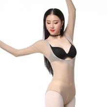Bling Bling Womens Mesh Leotard Open Bust Long Sleeve Belly Dance Top Bodysuit Hot Stone Glitter Free Shipping