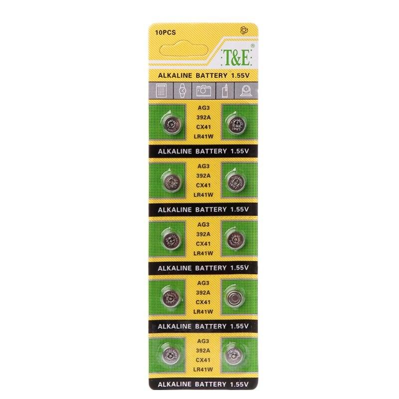 Cell Coin Alkaline Battery AG3 1.55V Button Batteries SR41 192 L736 384 SR41SW CX41 LR41 392 Lamp Chain Finger Light Watch 10PCS