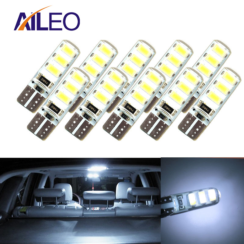 10pcs LED W5W T10 194 168 W5W COB 6SMD Led Parking Bulb Auto Wedge Clearance Lamp CANBUS Silica Bright White License Light Bulbs