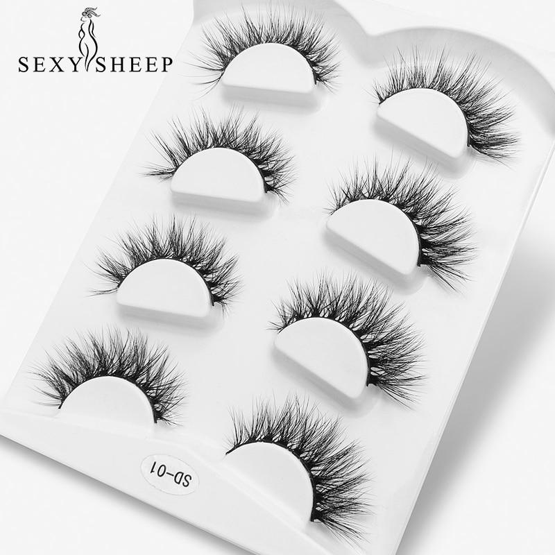 SEXYSHEEP 4pairs 3D Faux Mink Lashes Natural Fluffy False Eyelashes Volume Fake Lashes Makeup Extension Eyelashes Maquiagem