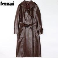 Nerazzurri Lange schwarz faux leder graben mantel für frauen lange hülse gürtel zweireiher plus größe frauen herbst mode 2020 7xl
