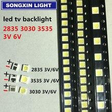 100 pçs 2 w 6 v 3535 tv retroiluminação led 3 v smd diodos branco fresco lcd tv retroiluminado diod lâmpada reparação aplicação
