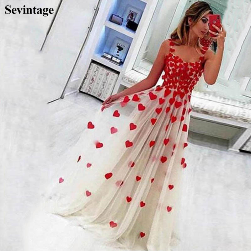 Sevintage Chic Red Flowers Long Prom Dresses Spaghetti Strap Tulle Evening Gowns Floor Length Women Formal Dress robe de soiree