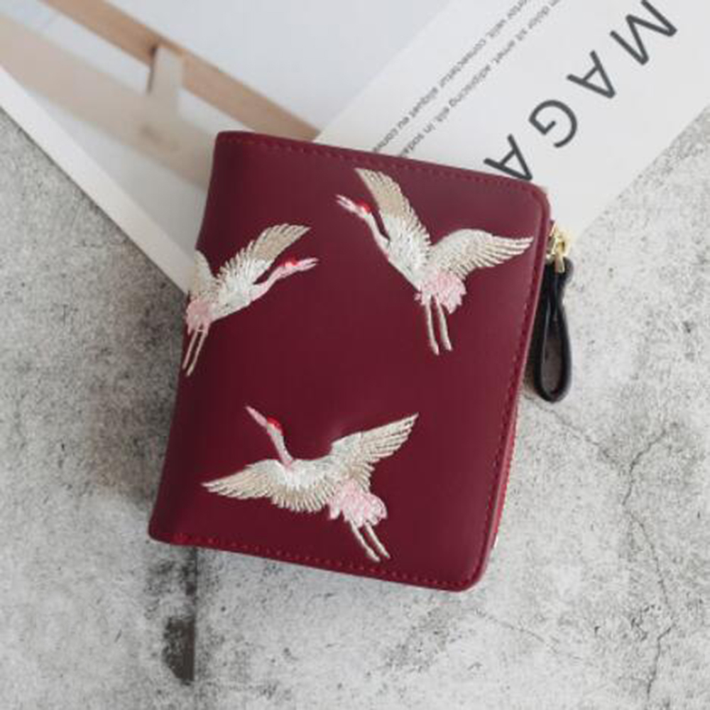 Lovely Birds Printed Mini Women Wallet PU Leather Fashion Zipper Coin Purse Woman Clutch Purses Cards Holder Ladies Coin Pocket