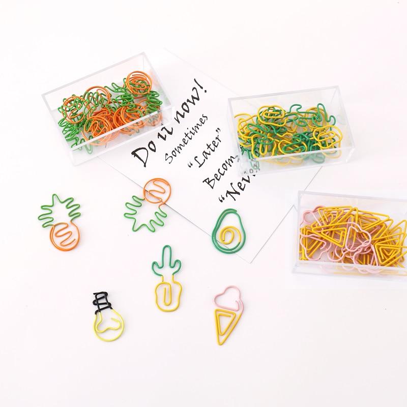 TUTU 10 pcs/lot Creative Kawaii pineapple ice cream bulb Shaped Metal Paper Clip Bookmark Stationery Escolar Papelaria H0281 1
