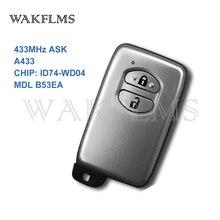 2 boutons argent 433MHz demander A433 carte ID74 WD04 clé à distance intelligente pour Toyota Highlander Land Cruiser 200 MDL B53EA sans clé aller