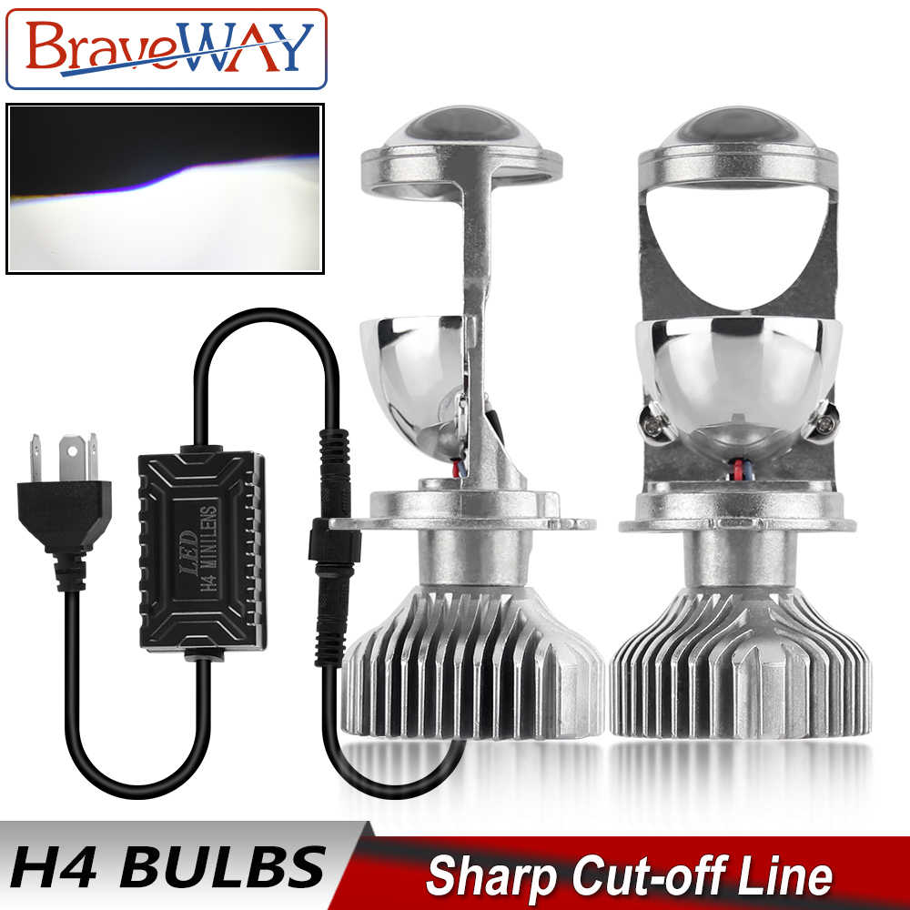 BraveWay H4 9003 LED Mini Bi-LED Projector Headlight Lens Headlamp Retrofit DIY Car Styling High Low Beam Lights for Motorcycle