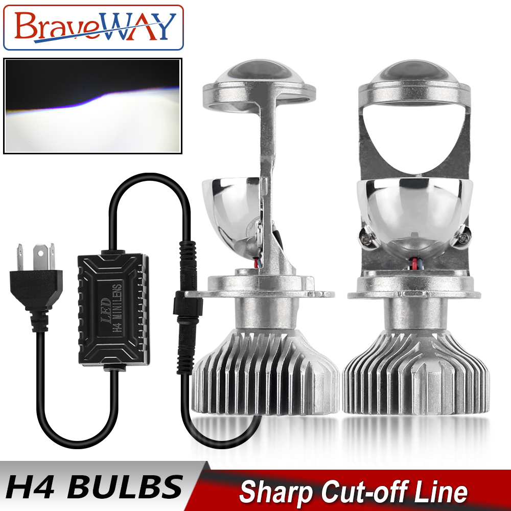 BraveWay H4 9003 LED Mini Bi-LED Projector Headlight Lens Headlamp Retrofit DIY Car Styling High Low Beam Lights For Motorcycle