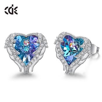 CDE Stud Earrings Embellished with Crystals from Swarovski Women Earrings Angel Wing Heart Earrings Fashion Ear Jewellery Gifts