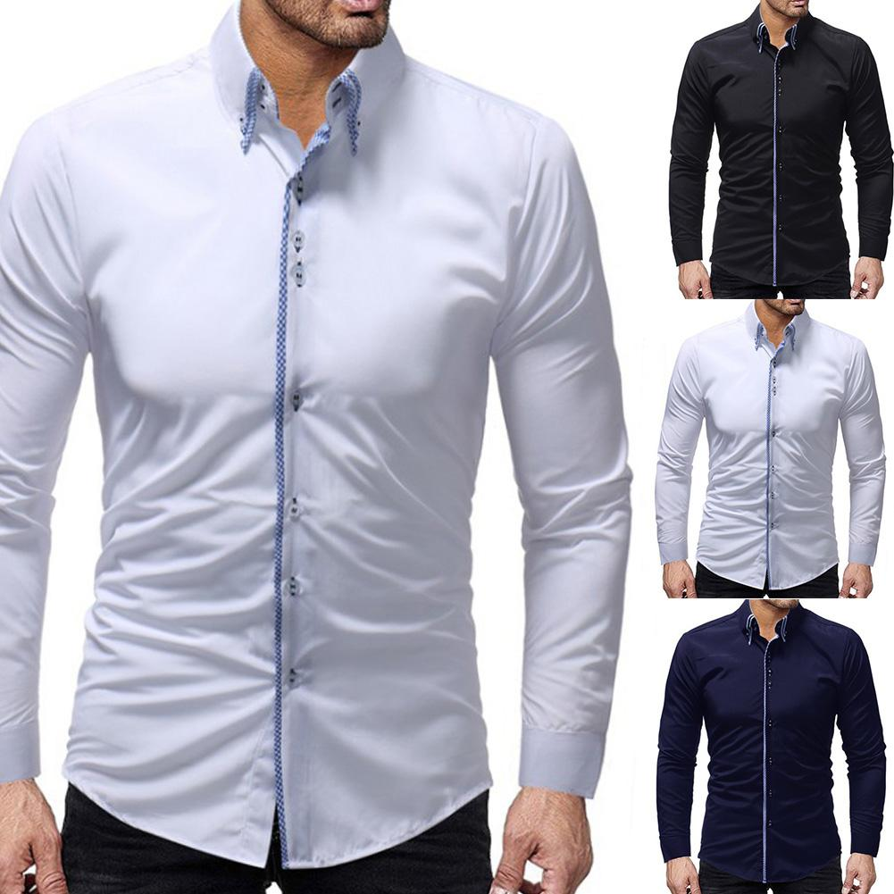 2020 New Trendy Men Solid Color Long Sleeve Turn Down Collar Buttons Cotton Slim Business Shirt Christmas Gift For Male