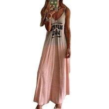 S-6XL Plus Size Tunic V Neck Joker Women Dress Spaghetti Strap Loose Long Boho Beach Letters Printed Dresses Pink Grey