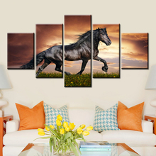 5 Panels Running Steed Horse Sea Sunset Canvas Paintings Prints Animal Horses Poster Wall Art for Living Room Decor Pictures sunset horses pattern unframed decorative canvas paintings