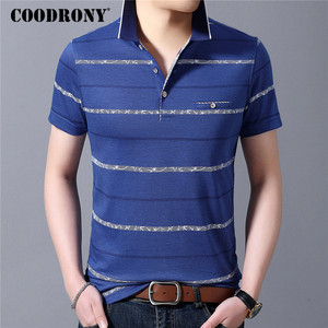 COODRONY Spring Summer Short Sleeve T Shirt Men Striped Tee With Real Pocket Business Casual Turn-down Collar T-Shirt Men C5054S