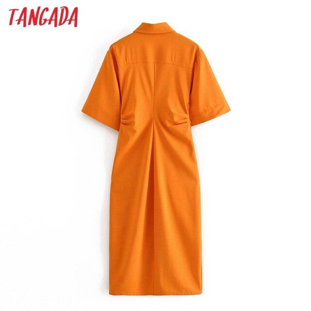 Tangada fashion women solid orange tunic dress short sleeve elegant ladies midi dress vestidos 3H906 6