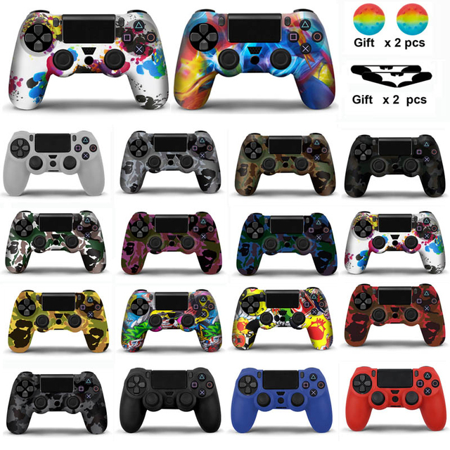 Silicone Case Cover For Sony PS4 Controller  For PS4 Gamepads joystick with 2 thumbsticks Grips Cap