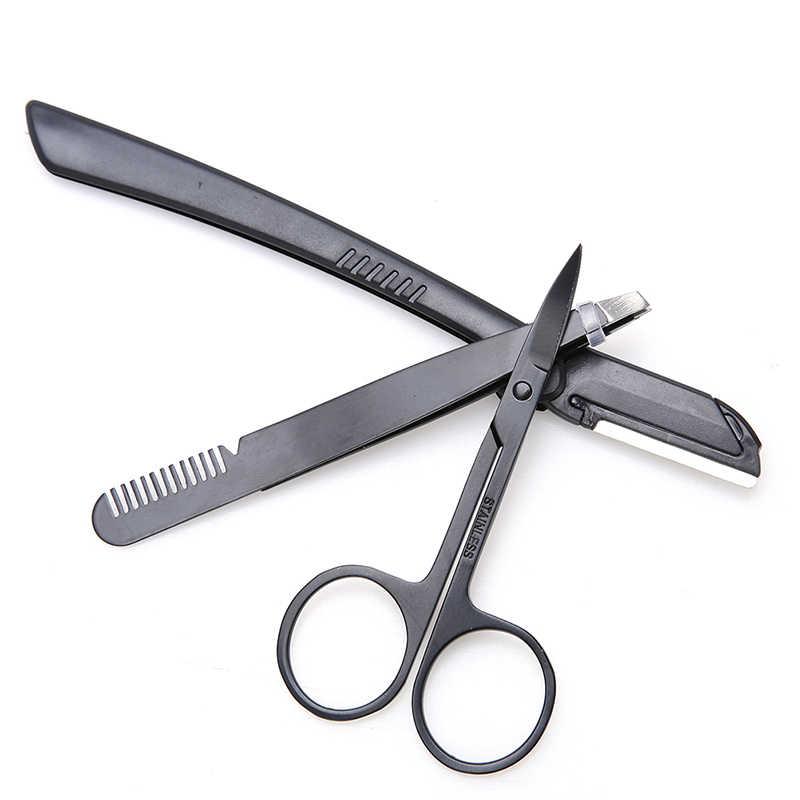 3 יח'\סט נשים ילדה נירוסטה מקצועי גבות מספריים גבות קאטר איפור יופי כלים גבות סכין קיכלי סט
