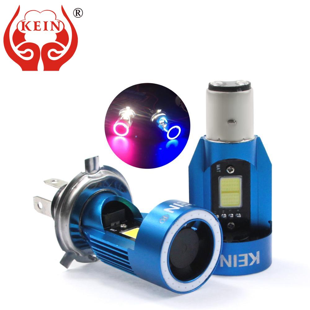 KEIN NEW H4 Led Angel eyes COB Motorcycle Headlight Bulbs H6 ba20d HS1 LED Motorbike Head Lamp Scooter Accessories Fog Light 25W
