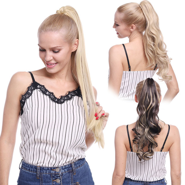 S-noilite 12-26inch claw clip on ponytail hair extension synthetic ponytail enxtension hair for women pony tail hair hairpiece 5
