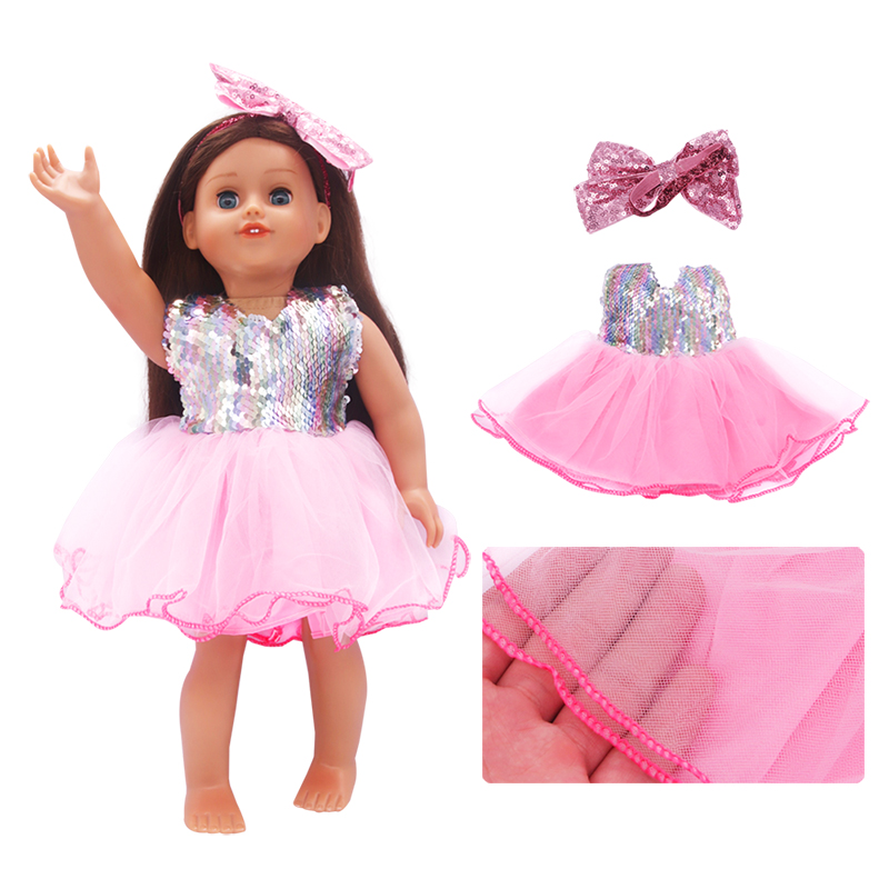 Colorful Sequin Doll Skirt Clothes Fit 18 Inch American Doll Dress With Hair Accessories For 43cm New Baby And Diy Dolls Girl