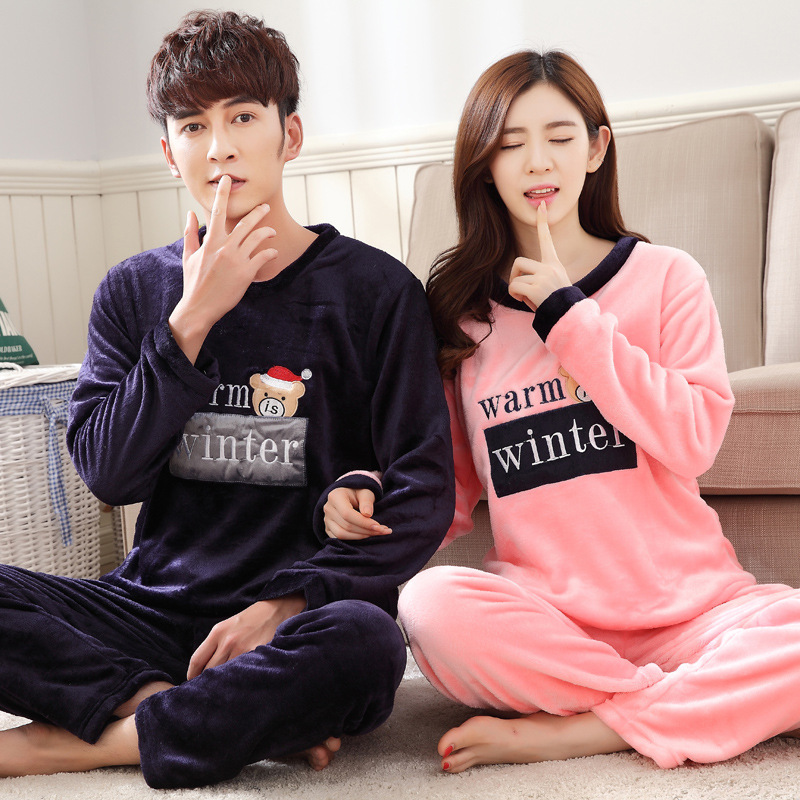 [Temperature Attitude Warm] Couples Pajamas Flannel Thick Warm Loose-Fit Christmas Bear-Outer Wear Tracksuit