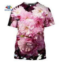 Футболка Мужская/женская с 3d принтом цветка вишни Повседневная