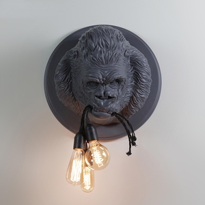Image 2 - מודרני גורילה שרף קיר מנורות נורדי Led פמוט קיר מטבח אור בית לופט תעשייתי דקור קיר בציר Luminaire E27 * 3