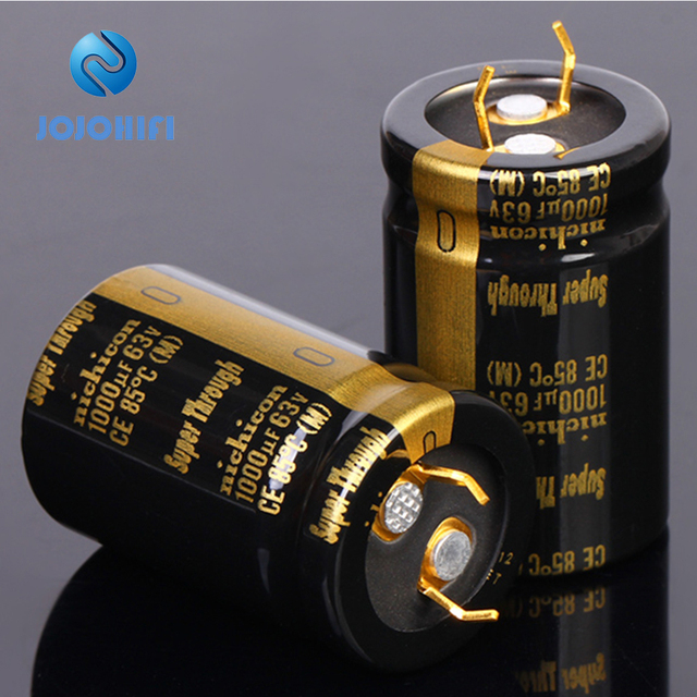 1pc 6pc 1000UF 63V 22x35mm Nichicon KG Super Through Pitch 10mm 63V/1000uf Gold Foot Super Penetration Electrolytic Capacitor