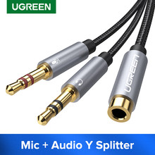 Ugreen Splitter Headphone for Computer 3.5mm Female to 2 Male 3.5mm Mic Audio Y Splitter Cable Headset to PC Adapter(China)