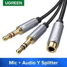 Ugreen Splitter Kopfhörer für Computer 3,5mm Buchse auf 2 Männlich 3,5mm Mic Audio Y Splitter Kabel Headset zu PC Adapter