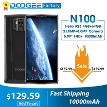 DOOGEE N100 10000mAh סוללה Mobilephone 21MP מצלמה 5.9 אינץ FHD + תצוגת MT6763 אוקטה Core 4GB 64GB נייד 4G LTE