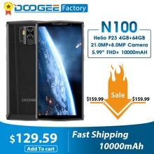 DOOGEE N100 10000mAh batterie téléphone portable 21MP caméra 5.9 pouces FHD + affichage MT6763 Octa Core 4GB 64GB téléphone portable 4G LTE