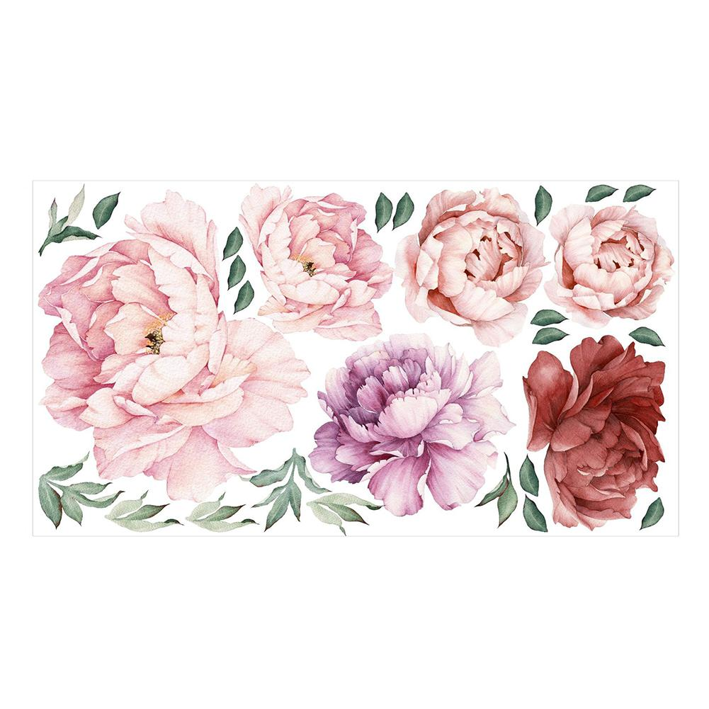 Peony Flower <font><b>Wall</b></font> <font><b>Sticker</b></font> <font><b>Retro</b></font> Watercolor <font><b>Sticker</b></font> Modern Home Decoration Art Flower Combination <font><b>Sticker</b></font> Removable <font><b>Wall</b></font> <font><b>Sticker</b></font> image