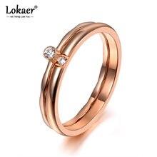 Lokaer-bague de fiançailles pour femmes et filles, en titane 2 en 1, bijoux en cristal CZ, or Rose, bague de mariage, tendance R19147