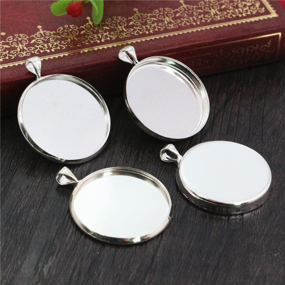 5pcs 25mm Inner Size Light Silver Plated Two Style Brass Copper Cabochon Base Setting Charms Pendant Tray