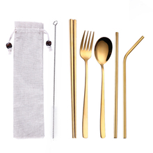 New Portable Tableware Healthy Stainless Steel Flatware Set Travel Utensils With Straws For Camping Office School Lunch