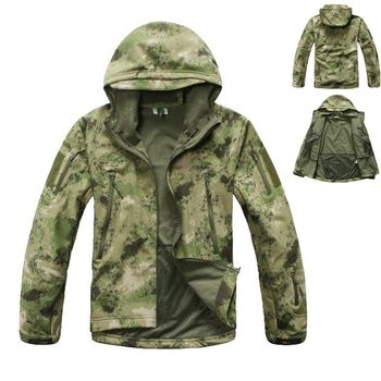 Outdoor Sport Camping Hiking Men Coat Tactical Hunting Windbreaker Waterproof Camo Jacket  SoftShell Camouflage Clothes mens military army combat tactical windbreaker hiking outdoor jacket men water resistant outerwear hoodie coat hunting clothes