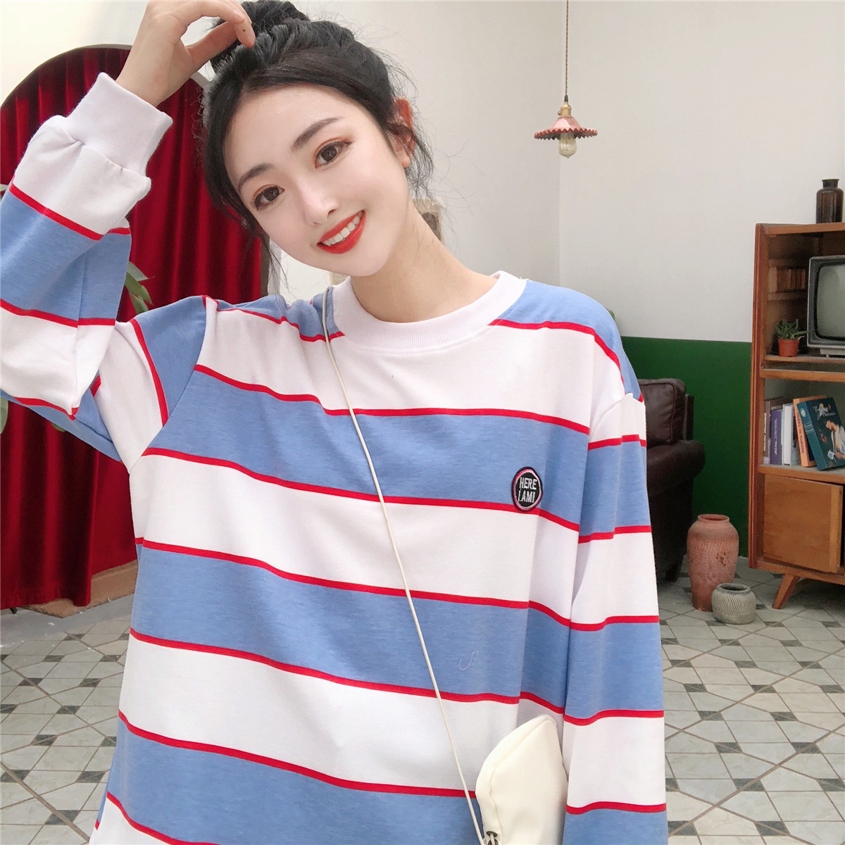 2019 Fall New Fashion Blue And White Striped Embroidered Hoodies Women Round Collar Pullover Sweatshirt Female Tracksuit M-XXL