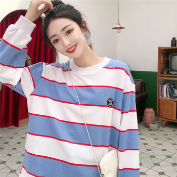 2020 Fall New Fashion Blue and White Striped Embroidered Hoodies Women Round Collar Pullover Sweatshirt Female Tracksuit M-XXL