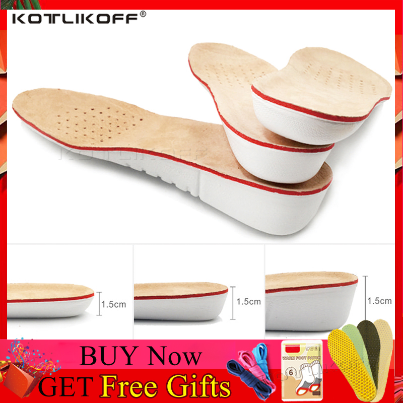 KOTLIKOFF Height Increase Insole 1.5/2.5/3.5cm Head Layer Pigskin Absorb Sweat Insoles Soles Orthopedic Shoe Pad Lift Increase