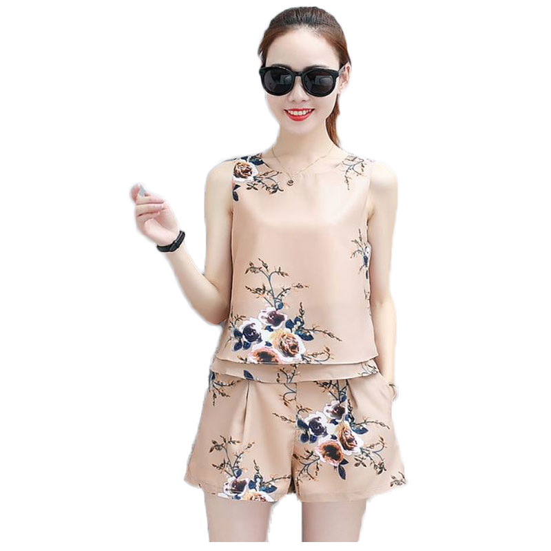 Girl O Neck Sleeveless Blouse Top amp High Waist Shorts Suit New Floral Fashion Two Piece Clothing Set Women Summer Clothes S XXL in Women 39 s Sets from Women 39 s Clothing