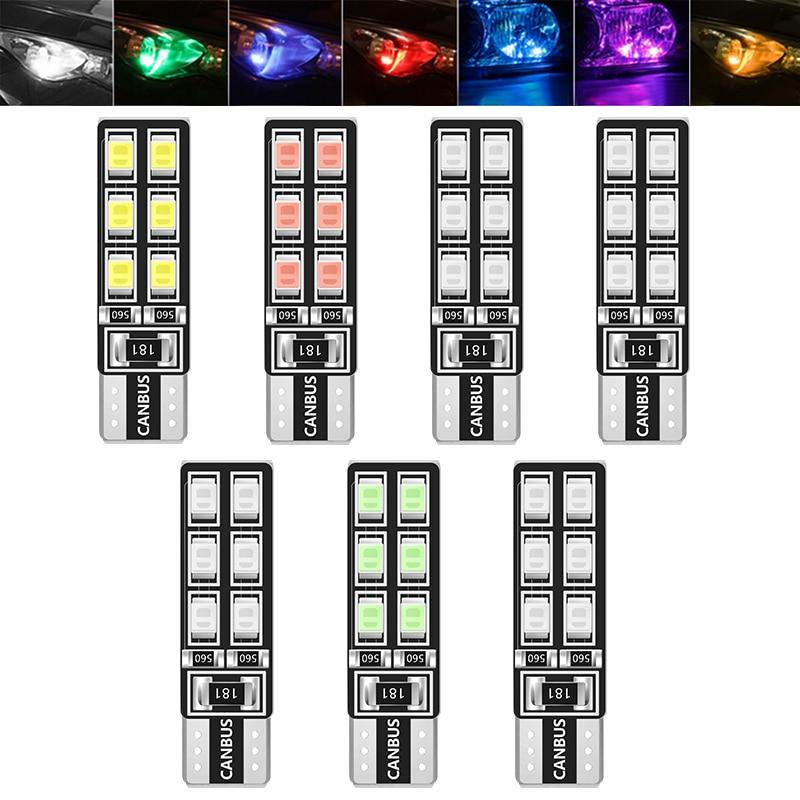 1Pcs T10 W5W Car LED Lights CANBUS 12 Leds 3528 SMD Clearance Light Reading Lamp 194 168 2835 Bulb Lamp Signal Light White 12V