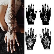 1 пара хна тату Трафаретный временный ручной татуировки боди-арт стикер шаблон индийская картина с красками комплект хны инструмент случайный стиль