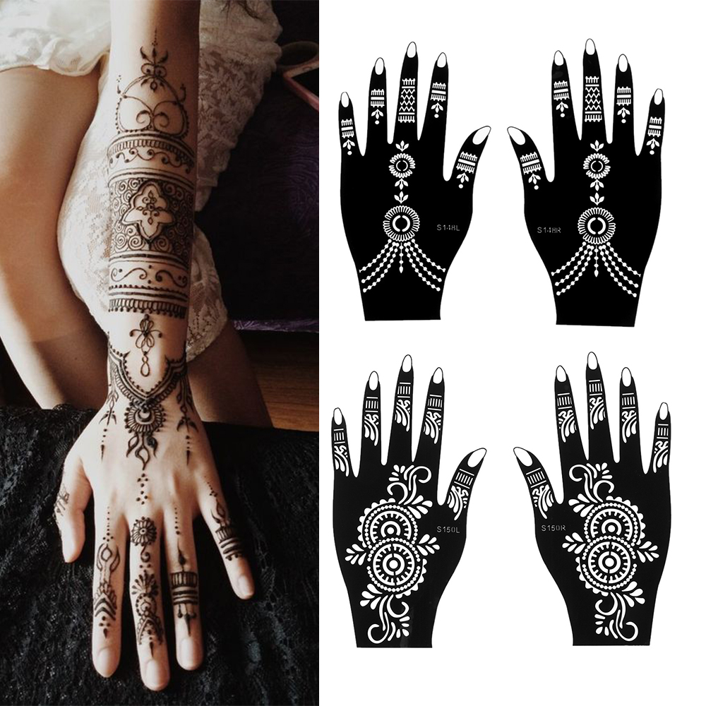1 Pairs Henna Tattoo Stencil Temporary Hand Tattoo Body Art Sticker Template Indian Wedding Painting Henna Kit Tool Random Style Buy At The Price Of 1 36 In Aliexpress Com Imall Com