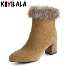 Kiiyilala Natural Rabbit Fur Cow Suede Snow Boots Women Pointed Toe Wood Grain Heel Zipper Winter Shoes Warm Plush Womens