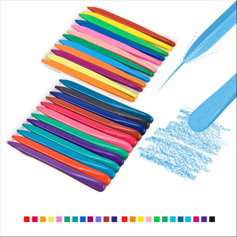 24Pcs//Box Non-toxic Paint Wax Triangle Stick Crayons For Children Kids Drawing
