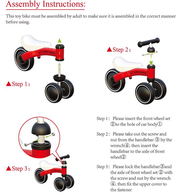 Bébé brillant bébé Balance vélo marcheur enfants monter sur jouet cadeau pour 10-24 mois enfants pour l'apprentissage marche Scooter - 6