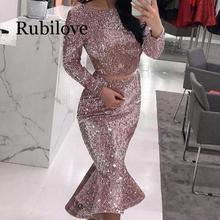 Rubilove Fashion Long Sleeve Sequin Bodycon Dress Women Runway Vintage Mermaid Sexy Party Midi Dresses Summer 2019 New