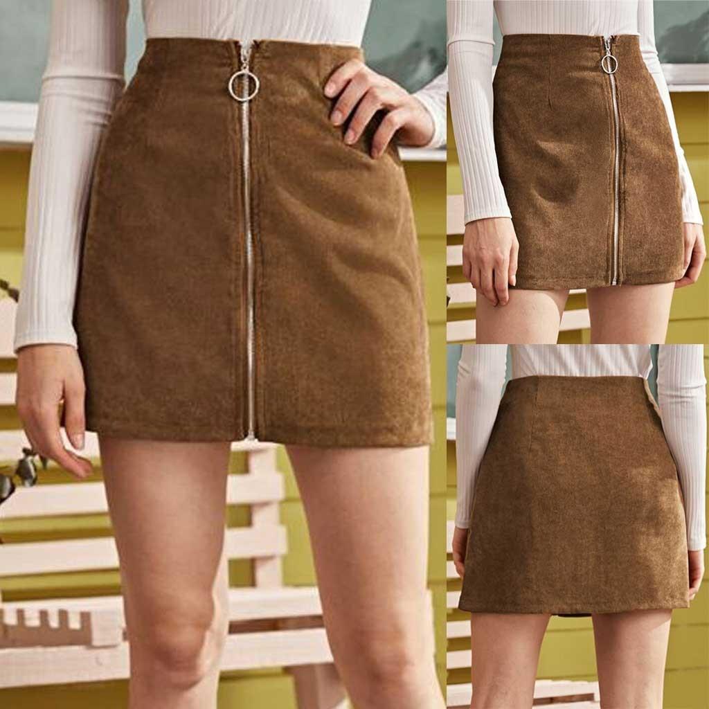 Skirts womens Zipper High Waist Corduroy Fashion Girls Sexy Uniform Pleated Mini Skirt faldas mujer moda 2020 юбка женская