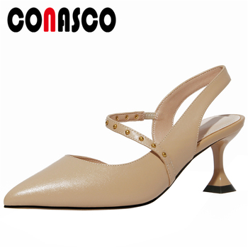 CONASCO Women Sandals Pumps Genuine Leather 2020 Fashion Concise Casual Spring Summer Rivets Narrow Band High Heels Shoes Woman